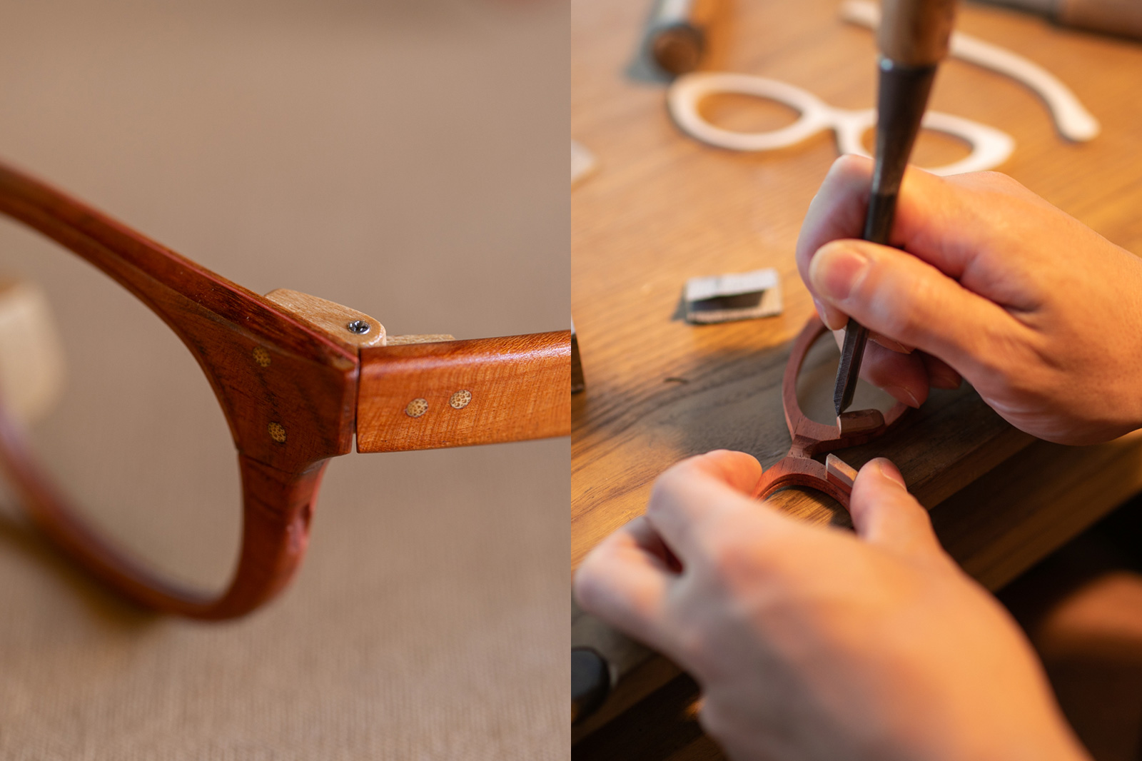 神田さんが作る眼鏡は丁番を除く全てのパーツが木製。
